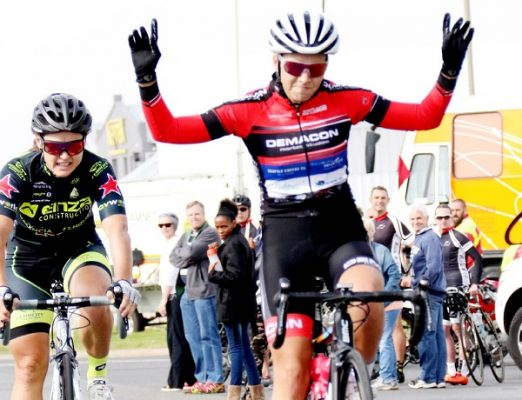 Kim le Court crosses the line to take the honours in the Emperors Palace Classic road cycle race, now known as the East Rand Classic. Although there is a new race venue, the route remains largely unchanged and will provide an opportunity for the sport's sprinters to show their prowess. Photo: Yolanda van der Stoep