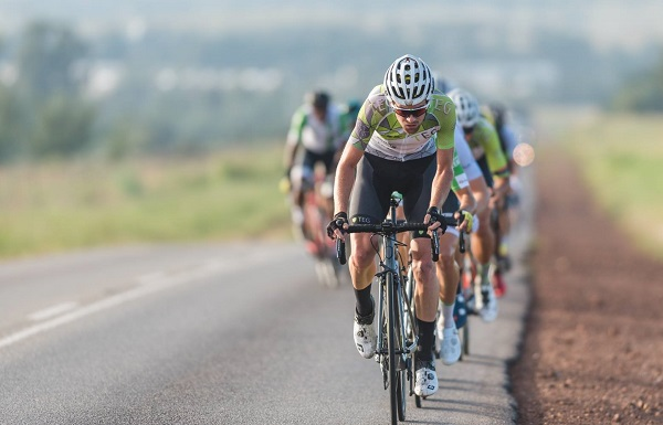 Kent Main leads the way in the Takealot East Rand Classic road cycle race in Kempton Park in Johannesburg today. Main soloed to his maiden East Rand Classic (formerly Emperors Palace Classic) title. Photo: Henk Neuhoff